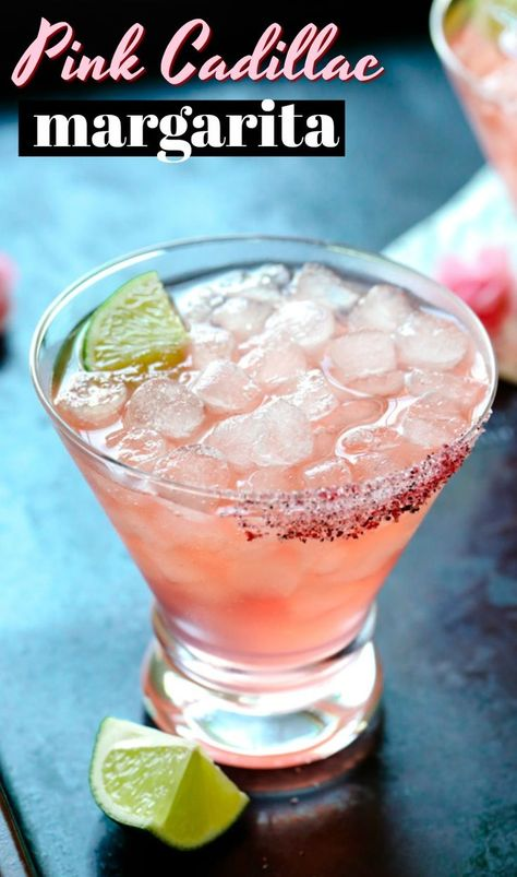 Step up your margarita game with this Pink Cadillac Margarita with a Hibiscus Salt Rim. Let's break down this Pink Cadillac Margarita recipe from top to bottom! First: Glassware After a couple of these cocktails, Tequila Drinks, Bar Drinks, Cocktail Drinks, Cocktail Recipes, Alcoholic Drinks, Beverages, Vodka Sangria, Dinner Recipes, Pink Cadillac Margarita Recipe