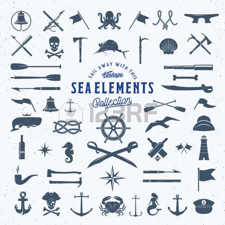 Vintage Vector Sea or Nautical Icon Symbol Elements Set for Your Retro Labels, Badges and Logos. Huge Template with Shabby Texture. Isolated. Stock Photo - 52723504