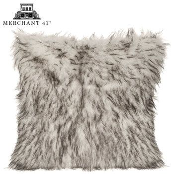 White With Gray Tips Faux Fur Pillow Cover Faux Fur Pillow Fur
