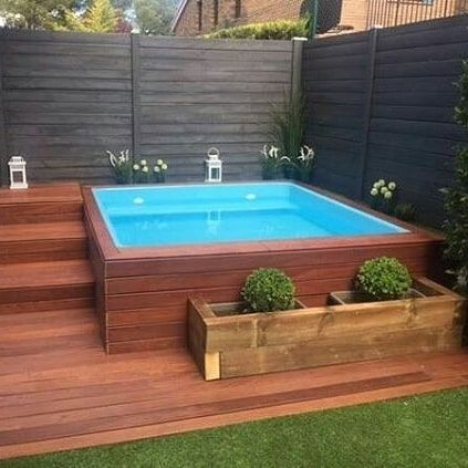 Contemporary small backyard with wooden deck, Z # backyard deck . Contemporary small backyard with wooden deck, Z # backyard deck . Hot Tub Backyard, Small Backyard Patio, Backyard Patio Designs, Wedding Backyard, Backyard Landscaping, Landscaping Ideas, Backyard Pergola, Backyard House, Backyard Seating