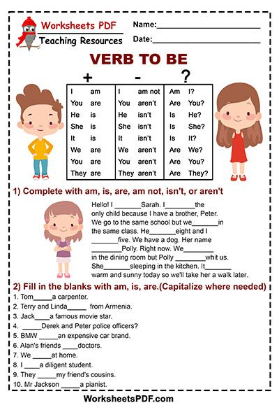 Am Is Are Worksheets Free English Grammar For Kids, Learning English For  Kids, English For Beginners