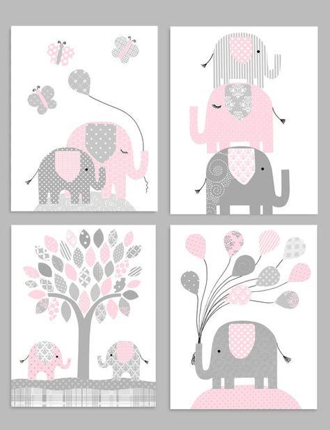 Decor Van De Kwekerij Olifant Gray En Pink Meisje Zoo