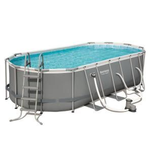 Bestway Power 18 Ft X 9 Ft Oval 48 In D Hard Side Above Ground Pool Set With Pump And Aqua Vacuum 56711e Bw 58422e Bw The Home Depot Oval Pool Oval