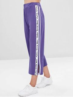 Ropa En Pinterest Pantalones Rectos A Rayas Con Aberturas Laterales Pantalones Mujer Pantalones Con Parches Pantalones