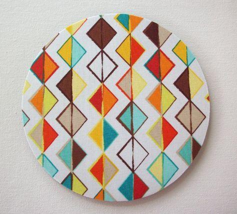 Pad and Coaster Set Geometric Triangle Blue Pattern Mouse Mat