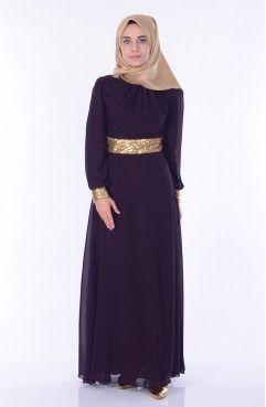 Islemeli Sifon Abiye Elbise 2398 28 Koyu Murdum