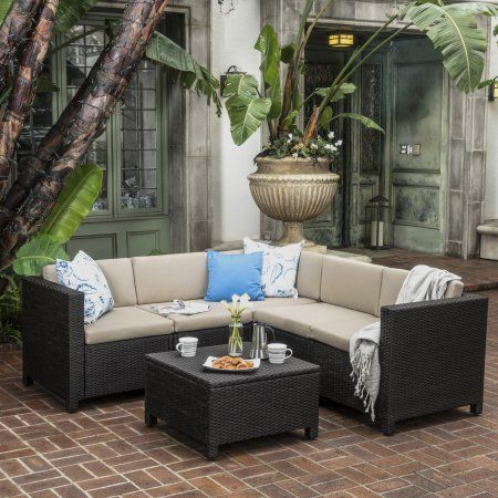 Cascada Outdoor Wicker V Shaped Sectional Sofa Set With Cushions