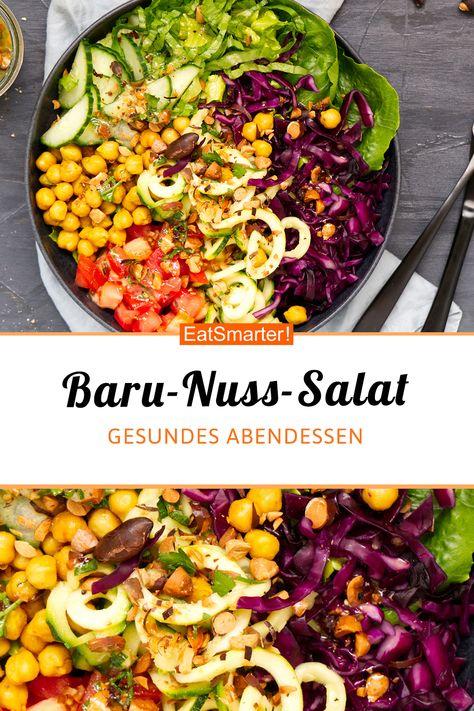 Vegetarisch für Genießer: Baru-Nuss-Bowl - kalorienarm - einfaches Gericht - So gesund ist das Rezept: 9,2/10 | Eine Rezeptidee von EAT SMARTER | Feierabend-Rezepte, Kochen für Berufstätige, Rezepte zum Mitnehmen, Salat to-go, Was koche ich heute, Familienessen, Ferienküche, für 4 Personen, Für jeden Tag, Gäste, Gourmet, Gemüse, Blattgemüse, Blütengemüse, Fruchtgemüse, Kohlgemüse, Kräuter, Zucchini-Nudeln, Dressing, Mittagessen, Abendessen, Hauptspeise #nüsse #gesunderezepte