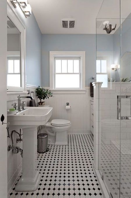 Black And White Tiles On Walls Or Floors Are A Classic Colour Combination That Gives Any Room A Sophis Craftsman Bathroom Bathroom Styling Traditional Bathroom