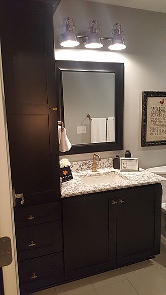 Main Bath With Linen Wellborn Cabinet Hanover Maple Onyx Painted