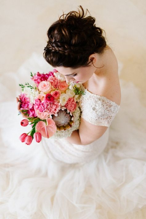 Snow White Inspired Wedding Portraits Alana van Heerden Wedding Dress. Bouquet of pink and blush roses, pink tulips, King Protea, lily.// Pics Debbie Lourens // Make-up and Hair: Fringe Hair and Make-up // Flowers Paramithi Flowers and Decor