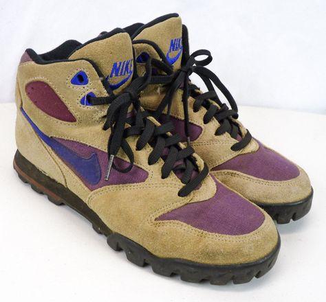df5be637742f0 NIKE REGRIND Hiking Boots Womens 8 Tan Suede w/Purple Swoosh Vintage 1993 # Nike #AnkleBoots #WalkingHiking