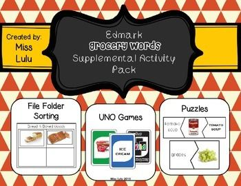 Grocery Words Cool Materials 5 File Folder Sorting Activities2 Uno Games2 Sets Of 2 .
