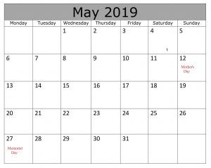 May Calendar 2019 With Holidays Excel Calendar 2019 With