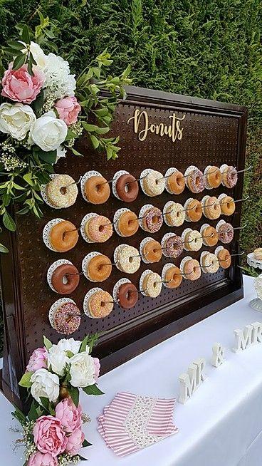 Donut Wall Weddings And Events Scrumdiddly Yum Ptious Cambridge In 2020 Wedding Donuts Donut Bar Wedding Donut Wall