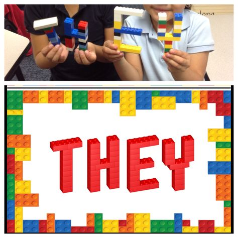 Templates for students to build 3d Lego sight words.