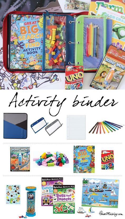 Binder of activities for kids on the plane