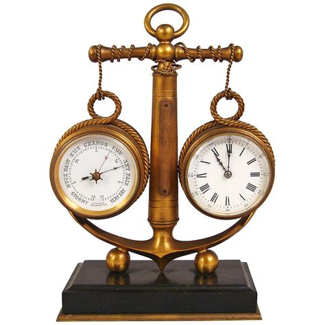 Very Fine Quality Combination Nautical Clock And Barometer From A Unique Collection Of Antique And Modern Nautical Clocks Decorative Objects Clock
