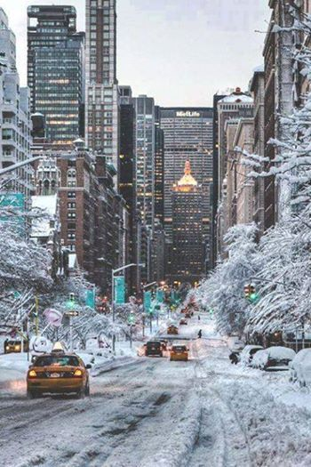A snowy Valentines Day in NYC. Park Avenue, NYC