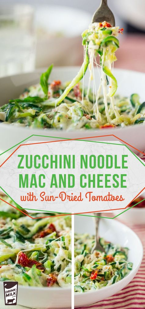 Zucchini Noodle Mac and Cheese with Sun-Dried Tomatoes, a low-carb version of a favorite comfort food Appetizer Recipes, Keto Recipes, Vegetarian Recipes, Healthy Recipes, Going Vegetarian, Going Vegan, Zuchinni Recipes, Zucchini, Low Carb Pasta Substitute