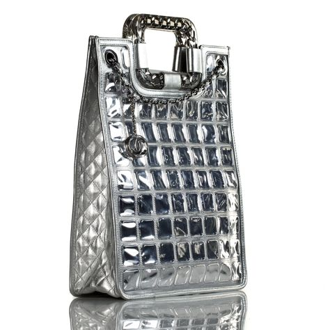 50be300f4202f Chanel Silver Ice Cube Quilted Lambskin Tote Bag - Cruise Collection  Limited Edition