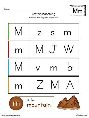 Letter M Uppercase And Lowercase Matching Worksheet Color Tracing Worksheets Preschool Lettering Workbook Design