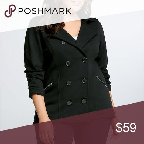 349d8af3694 Torrid Double Breast Peacoat Plus Women s Curvy Torrid women s plus size  double breasted pea coat. Solid black. Perfect for all curvy girls in the  winter!