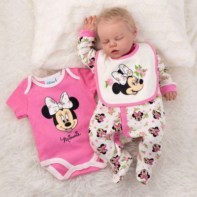 Baby Set 3 Teile mit Strampler Body und Latz für Mädchen Winnie Pooh rosa