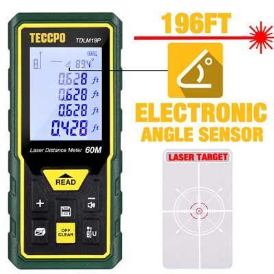 6 Teccpo 196ft Backlit Lcd Electronic Angle Sensor Laser Measure Laser Measurements Measurement Tools