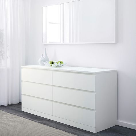 MALM white, Chest of 6 drawers, cm. Smooth-running drawers and in a choice of finishes – pick your favourite. Ikea White Dresser, Bedroom Drawers, 6 Drawer Dresser, Dresser Decor, Malm, Wide Chest Of Drawers, Ikea, White Dresser Bedroom, Dresser Drawers