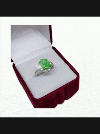 خاتم فضة عيار 925 خاتم فضة فص أخضر البيع بالقطعة Stud Earrings Earrings Jewelry
