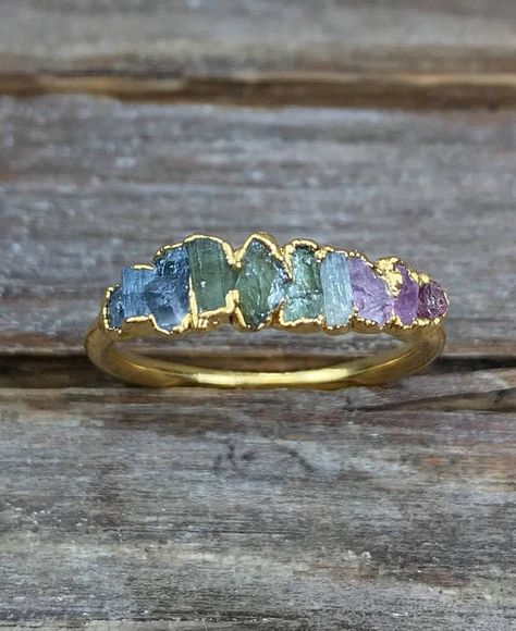 Items similar to Raw tourmaline ring / Gold tourmaline ring / Watermelon tourmaline ring / Rainbow ring / Raw gemstone ring / Gift for her / ptomise ring on Etsy Copper Jewelry, Fine Jewelry, Jewellery, Raw Gemstone Ring, Topas, Watermelon Tourmaline, Raw Gemstones, Ring Verlobung, Cluster Ring