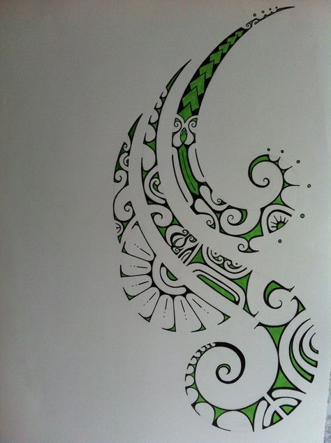green polynesian tattoo drawing Love the addition of colour