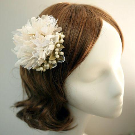 Bridal Headpiece handmade silk and organza flower puff in pink beige and white Pomona
