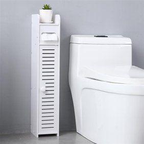 Topcobe Small Bathroom Storage Corner Floor Cabinet With Doors And Shelves Thin Toilet Vanity Cabinet Narrow Bath Sink Organizer Towel Storage Shelf For Pape Small Bathroom Storage Paper Towel Storage Towel