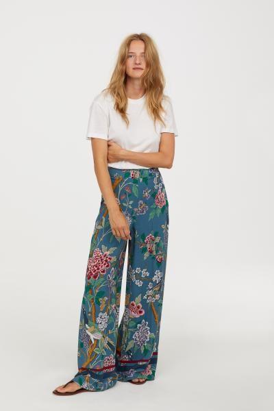 Womens Casual Cotton Floral Print  Drawstring Wide Leg Lounge Full Length Pants