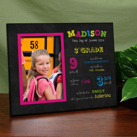 Backtoschool Personalized Her First Day Of School Frames This First Day Of School Design For School Frame First Day Of School School Picture Frames
