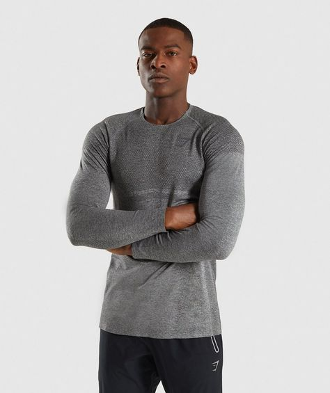 bbbc84f0b7a0 Gymshark Shadow X Seamless Long Sleeve T-Shirt - Charcoal Marl 1 ...