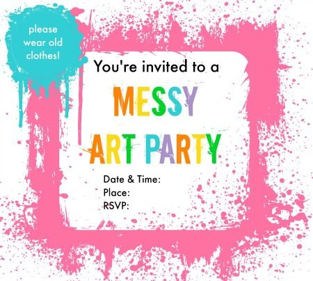 Messy Art Party Invitations Art party invitations, Messy art and - party invite templates free