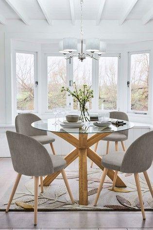 Buy Oak Glass Round Dining Table From The Next Uk Online Shop Buy Dining Glass Oak Round Oak Dining Table Glass Dining Table Decor Round Dining Room Table