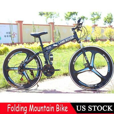 "26/"" Folding Mountain Bike 21 Speed Bicycle Full Suspension MTB Bikes US"