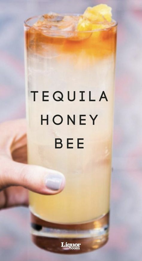 Tequila drink recipes, Tequila honey bee cocktail recipe can be smooth or sweet. Tequila is one of the healthier alcohols you can drink. Tequila honey bee Drinks The Tequila Honey Bee Cocktail Alcohol Drink Recipes, Fireball Recipes, Mixed Drink Recipes, Alcohol Shots, Tequila Sunrise, Cocktail Drinks, Cocktail Tequila, Lemon Cocktails, Tequila Mixed Drinks