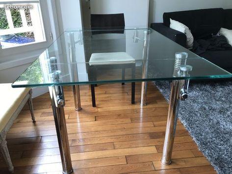 Table En Verre Plexi Avec Rallonges Integrees Table En Verre