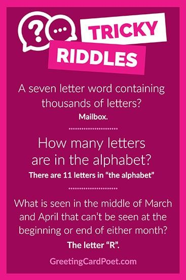 Tricky Riddles challenge you to think critically. Tricky Riddles challenge you to think critically.You can find Riddles and more on our website.Tricky Riddles challenge you to think critically. Tricky Riddles challenge you to. Kids Jokes And Riddles, Funny Jokes For Kids, Kid Jokes, Hilarious Jokes, Family Games, Games For Kids, Activities For Kids, Tricky Riddles With Answers, Tongue Twisters