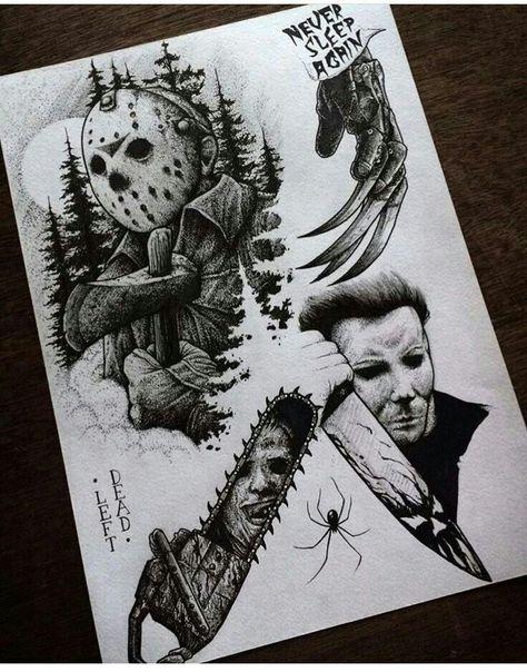 – to draw – draw Horror Tattoo Flash Sheet. – to draw – draw