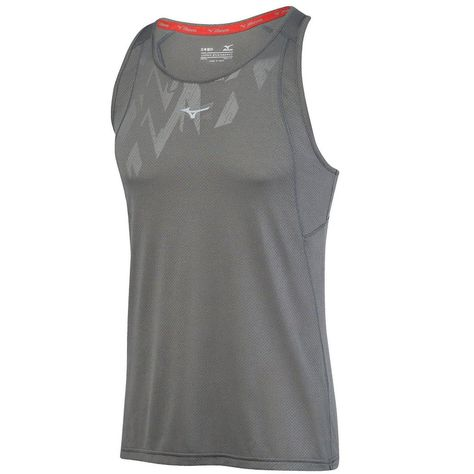 Mizuno Mens Alpha Vent Singlet Red Sports Running Breathable Reflective