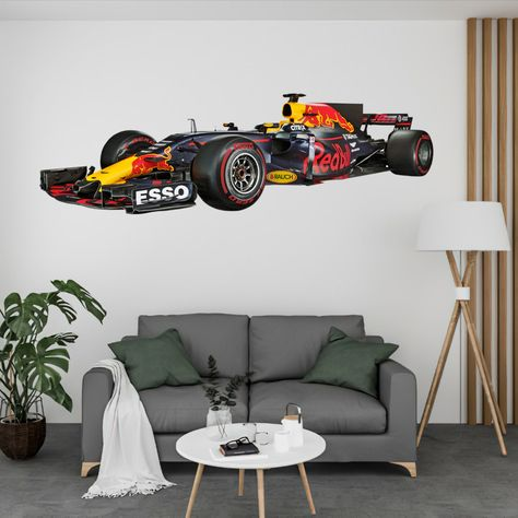 Red Bull Formula 1 Wall Decal Sticker, Can Print up to 120 Inches Wide. Amazing Detail and very realistic! Thisis a Peel-N-Stick Decal that can be applied to any smooth wall or glass. Thisdecal can be removed at any time and leaves no residue on the wall or it can remain on the wall for years, it's up to you. This is an indoor decal.