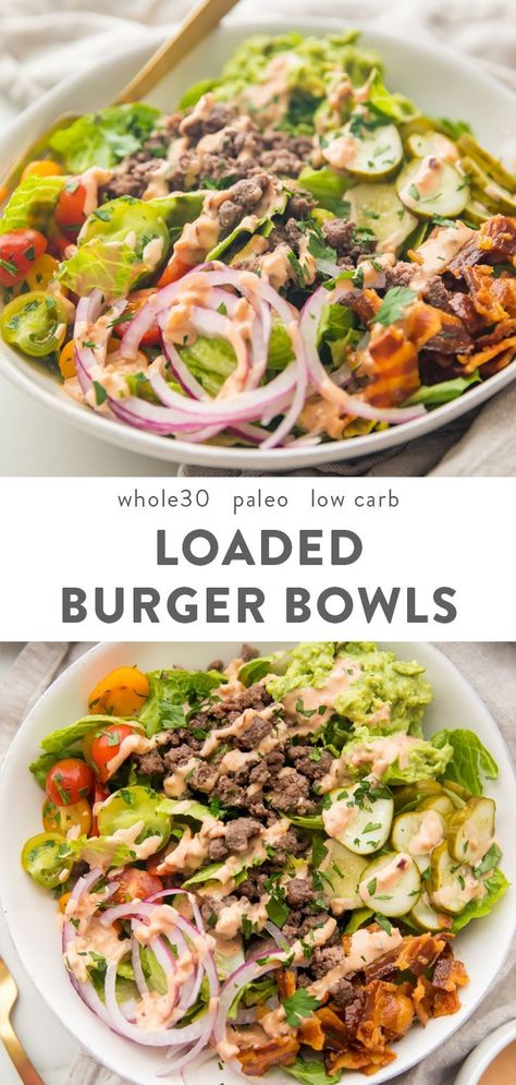 """These loaded burger bowls with pickles, bacon, a quick guacamole, and a """"special sauce"""" are so good! Whole30, paleo, and low carb, they're filling and healthy - a great alternative to the lettuce wrap burger! #whole30 #paleo"""