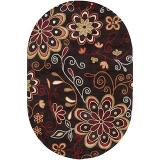 Hand Tufted Peacock Floral Oval Wool Area Rug 6 X 9 Oval