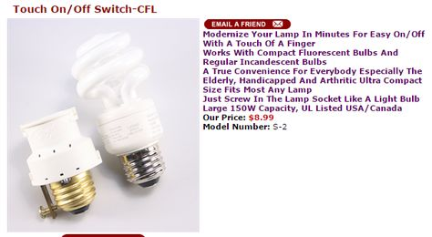 Touch On Off Switch Cfl Http Www Touchandglow Com Product P S 2 Htm Compact Fluorescent Bulbs Bulb Incandescent Bulbs